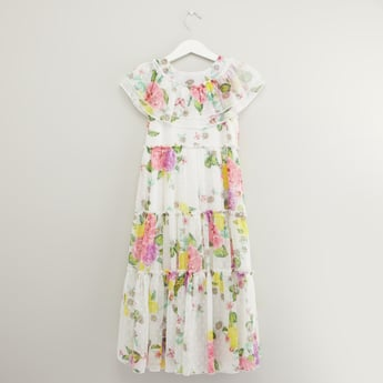 Floral Print Maxi Dress with Round Neck and Frill Layer