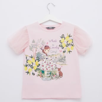Graphic Print Top with Round Neck and Short Sleeves
