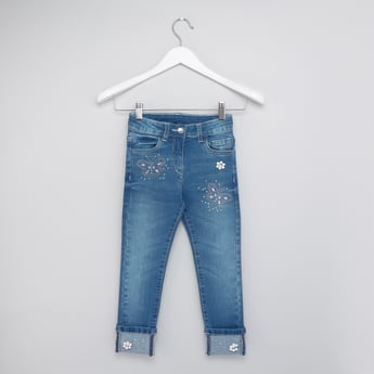 Embellished Jeans with Rolled Up Hem and Pockets