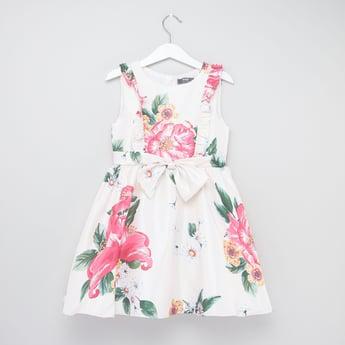 Rose Print Round Neck Sleeveless Dress with Bow