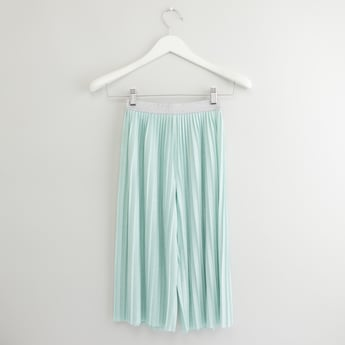 Solid Culottes with Pleat Detail and Elasticised Waistband