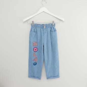 Applique Detail Denim Pants with Paperbag Waist and Pocket Detail