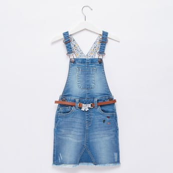 Printed Denim Pinafore with Adjustable Straps and Belt