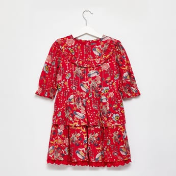All-Over Floral Print Tiered Dress with 3/4 Sleeves