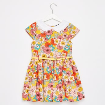 Floral Print Mini Dress with Collar and Belted Waist