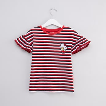 Hello Kitty Striped Top with Round Neck and Ruffle Detail