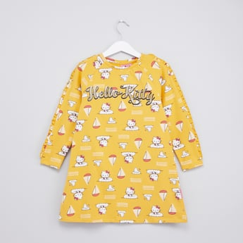 Hello Kitty Printed Dress with Long Sleeves