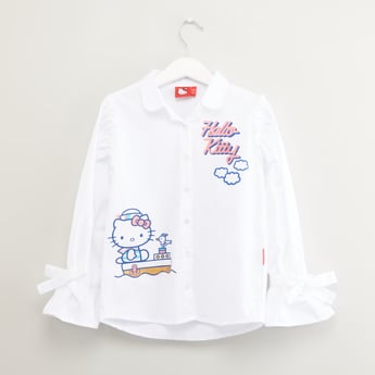 Hello Kitty Printed Shirt with Long Sleeves and Bow Detail