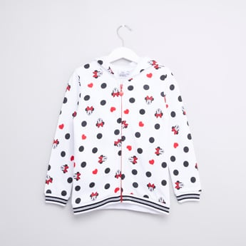 Minnie Mouse Printed Hooded Jacket with Long Sleeves and Zip Closure