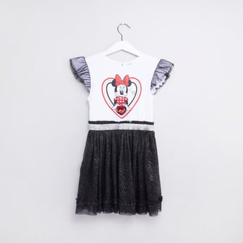 Minnie Mouse Printed Dress with Round Neck and Cap Sleeves