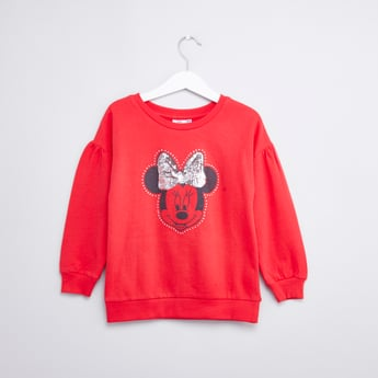 Minnie Mouse Printed Sweat Top with Round Neck and Long Sleeves