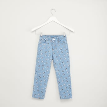 Minnie Mouse Printed Jeans with Pocket Detail and Belt Loops