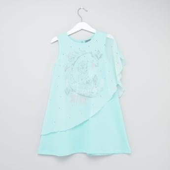 Frozen Print Round Neck Cape Dress