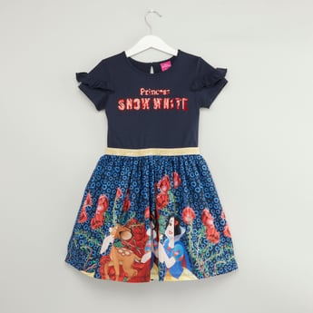 Snow White Printed Dress with Short Sleeves and Sequin Embellishments