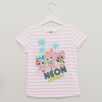 LOL Print T-shirt with Stripes and Cap Sleeves