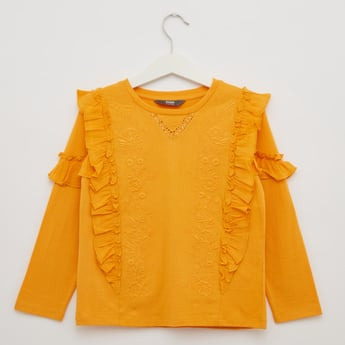 Embroidered Frill Detail Round Neck Top with Long Sleeves