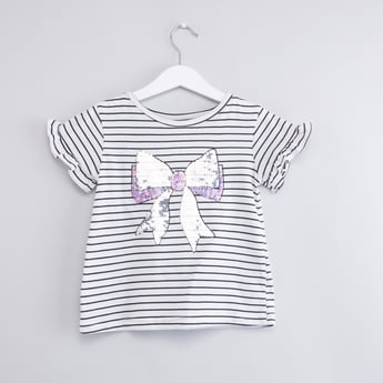 Striped Round Neck T-shirt with Sequinned Bow Detail