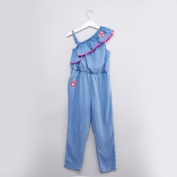 Embroidered One Shoulder Jumpsuit with Ruffle Detail