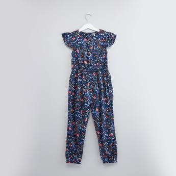 Floral Printed Jumpsuit with Cap Sleeves