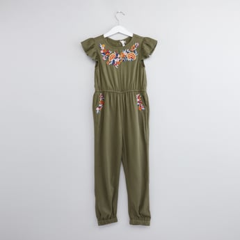 Floral Embroidered Jumpsuit with Round Neck and Pockets