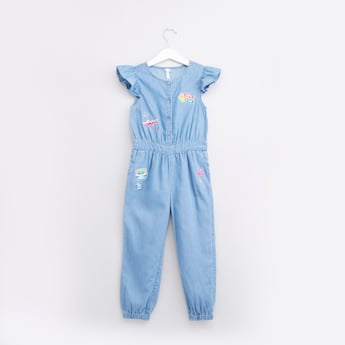 Embroidered Applique Detail Jumpsuit with Cap Sleeves and Pockets