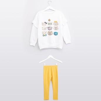 Printed Sweatshirt and Leggings Set