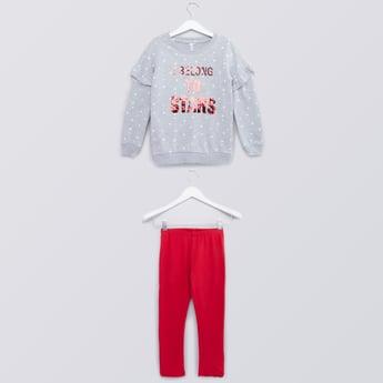 Sequin Detail Sweatshirt and Leggings Set