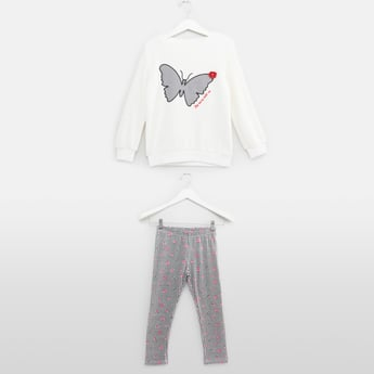 Butterfly Embroidered Sweat Top and Full Length Pyjama Set