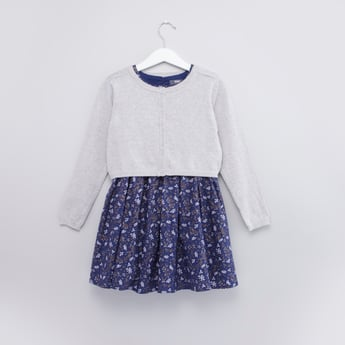 Printed Cap Sleeves Dress with Button Through Jacket