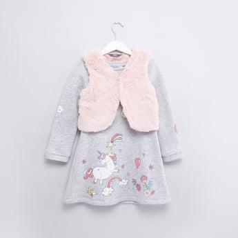 Unicorn Printed Long Sleeves Dress with Sleeveless Jacket
