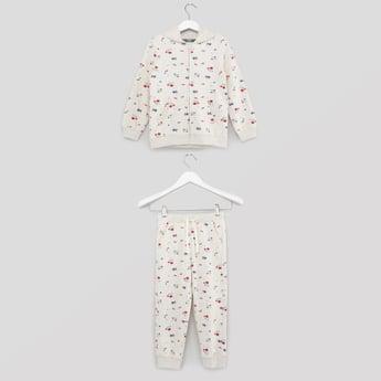 Floral Print Sweatshirt with Jog Pants Set