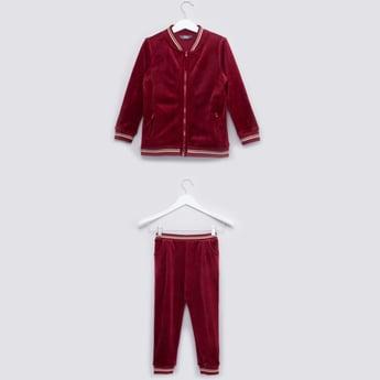 Textured Bomber Jacket and Jog Pants Set