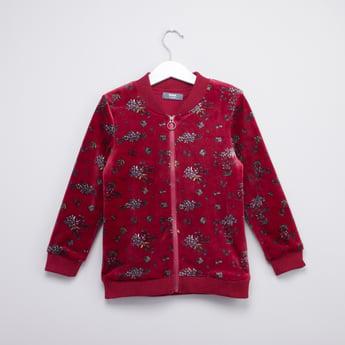 Floral Printed Jacket with Long Sleeves and Zip Closure