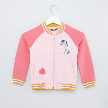 Applique Detail Jacket with Long Sleeves and Zip Closure
