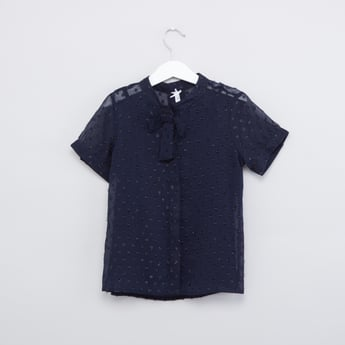 Textured Shirt with Mandarin Collar and Short Sleeves