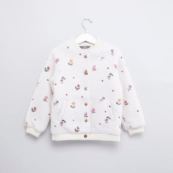 Embroidered Jacket with Long Sleeves and Button Closure