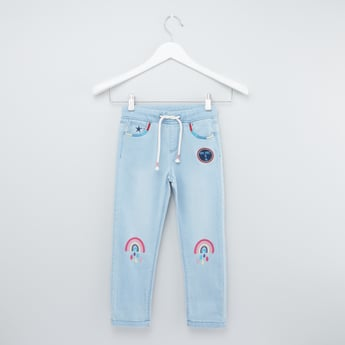 Embroidered Jeans with Elasticated Drawstring Waistband