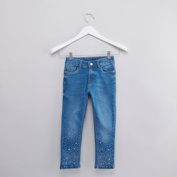 Embellished Denim Trousers with Button Closure