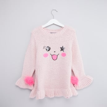 Textured Round Neck Sequinned Longline Sweater