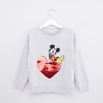 Mickey Mouse Printed Sweatshirt with Long Sleeves and Sequin Detail