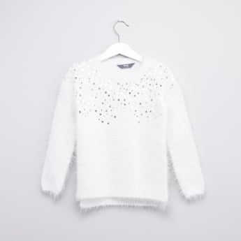 Sequinned Round Neck Sweater with Long Sleeves