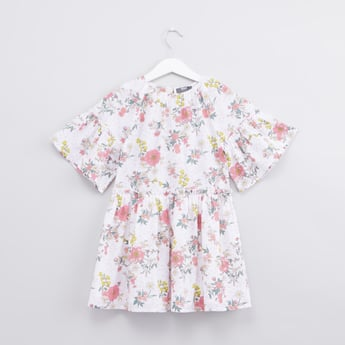 Floral Printed Dress with Flared Sleeves
