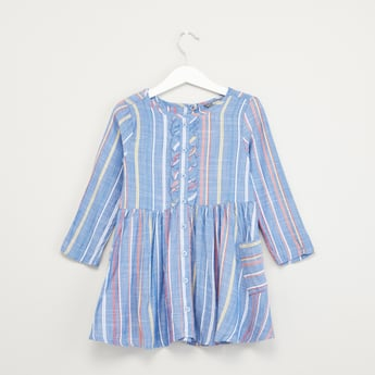 Striped Dress with Ruffle Detail and Long Sleeves