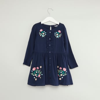 Embroidered Dress with Round Neck and Long Sleeves