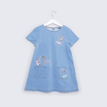 A-line Dress with Badge Detail and Short Sleeves