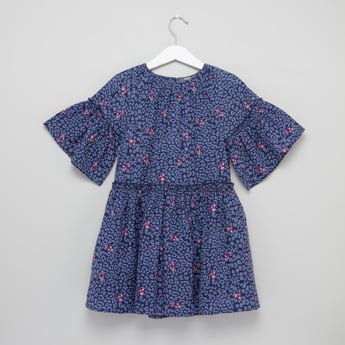 Printed Dress with Round Neck and Frill Sleeves