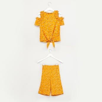 Floral Printed Cold Shoulder Top and Culottes Set
