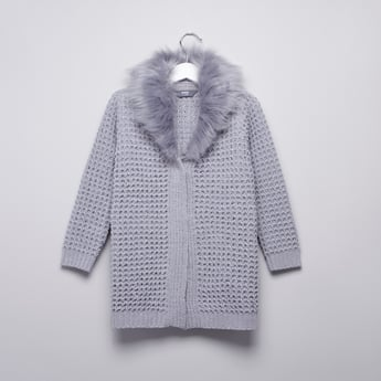 Marl Textured Coat with Ribbed Hems