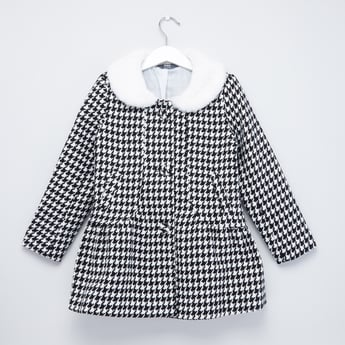 Chequered Jacket with Long Sleeves and Kangaroo Pockets