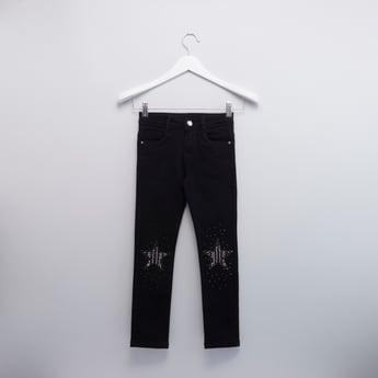 Embellished Detail Jeans with Pocket Detail and Belt Loops
